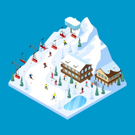 Ski resort tiled isometric landscape design with piste houses on piles rope way and skiers figures vector illustration