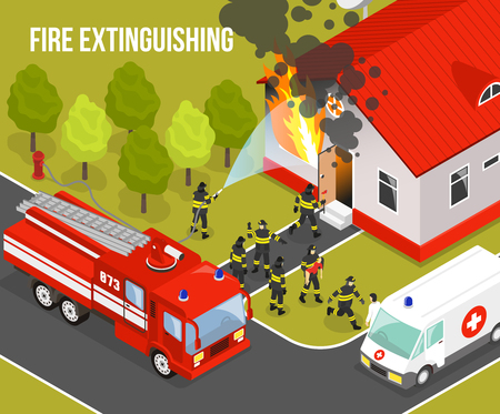 fire extinguishing: Colored fire department composition with situation fire extinguishing an apartment building and headline vector illustration Illustration