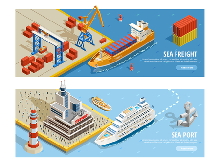 Sea transportation isometric horizontal banners with cruise and industrial ships containers crane passengers anchor lighthouse vector illustration Illustration