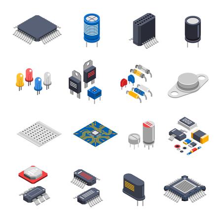 composants électroniques semi-conducteurs isolés icônes isométrique fixés avec des éléments de cartes de circuits microprocesseurs condensateurs et puces électrolytique illustration vectorielle