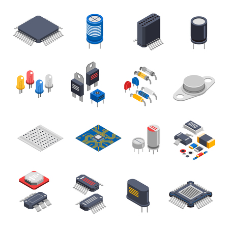 Isolated semiconductor electronic components isometric icons set with circuit board elements microprocessors electrolytic capacitors and microchips vector illustration Illustration