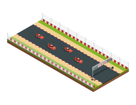 flagging: Car race track isometric composition with part of racing course with similar car images and flagging vector illustration