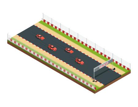 Composizione isometrica della pista di corsa automobilistica con parte del percorso di corsa con immagini simili di vettura e illustrazione vettoriale di flagging Vettoriali