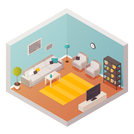 Living Room Isometric Interior With Cartoon Style Decorations Stuff And  Furniture Carpet Tv Set Lounge Furniture