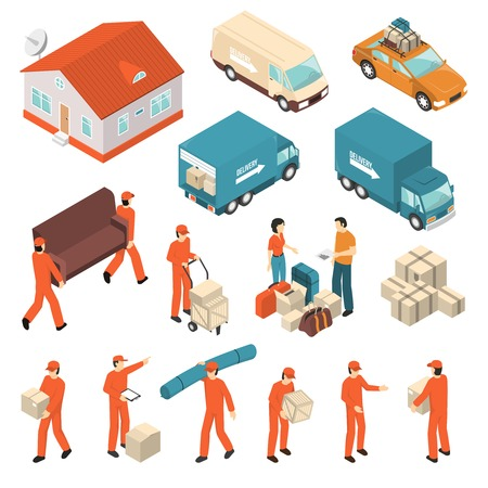 Moving company professional packing transportation unloading and delivery certified service isometric icons collection isolated vector illustration Illustration