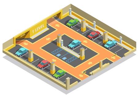 Parkeren ondergronds isometrisch malplaatje met wegauto's partijen en de vectorillustratie van de pijlenrichting