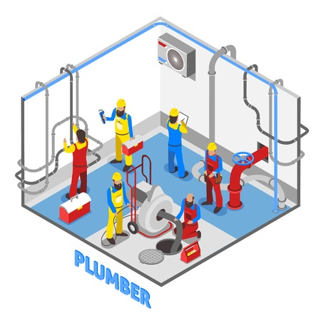3d layout of plumber isometric people composition in color with repairing pipes and equipment set up in the basement vector illustration