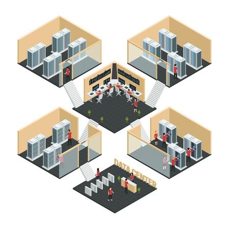データ センター サーバーのクラウドコンピューティングの 6 部屋インテリア画像ネットワーク筐体、フロント ベクトル イラスト等尺性 multistore 組
