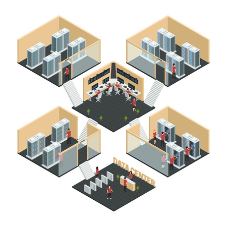server room: Datacenter server cloud computing isometric multistore composition with six room interior images  network enclosure and reception vector illustration