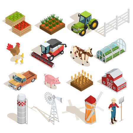 Farm isometric icons collection with agricultural machines animals vegetables fruits greenhouse mills farmer barn isolated vector illustration Vettoriali