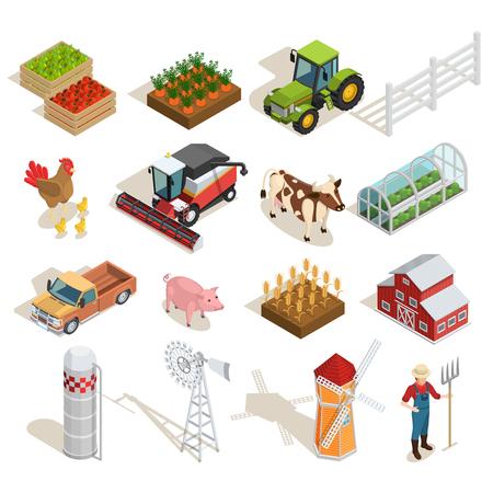 Farm izometryczny ikony kolekcji z maszyn rolniczych zwierząt warzywa owoców szklarnie młynów rolnik stodoły izolowane ilustracji wektorowych