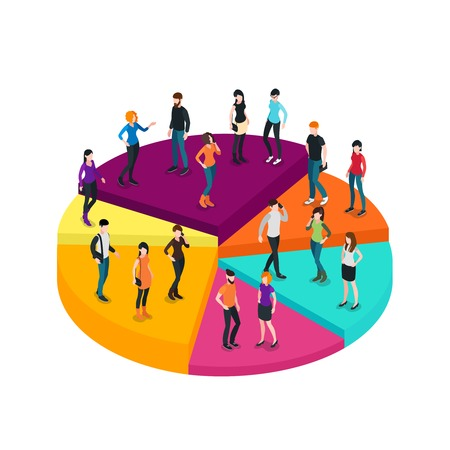 Business chart isometric concept with different people on colorful diagram platform isolated vector illustration