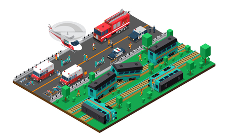 Choque de trenes diseño isométrica con el servicio de bomberos y ambulancias y helicópteros de la policía heridos personas ilustración vectorial