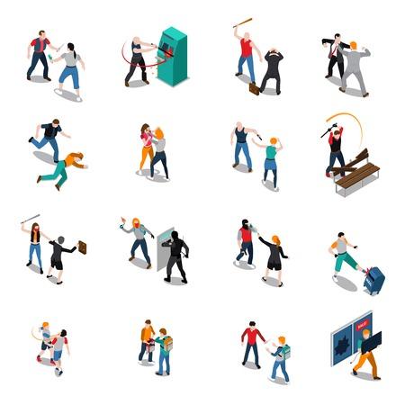 Straat hooligans isometrische pictogrammen met aanval op vrouwen vechten mannen vernietiging en geïsoleerd stelen vector illustratie