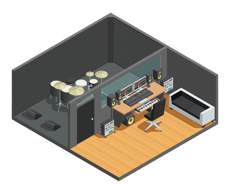 Music studio isometric interior composition with drum kit sound box and control room with mixing console vector illustration