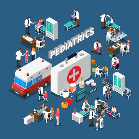Pediatrics isometric composition with doctors and ill kids furniture medication and ambulance on blue background vector illustration Illustration