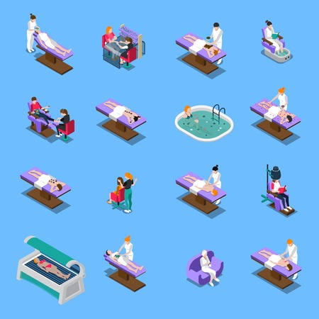 Beauty salon isometric set with manicure pedicure massage tanning and mud treatment stone therapy isolated vector illustration