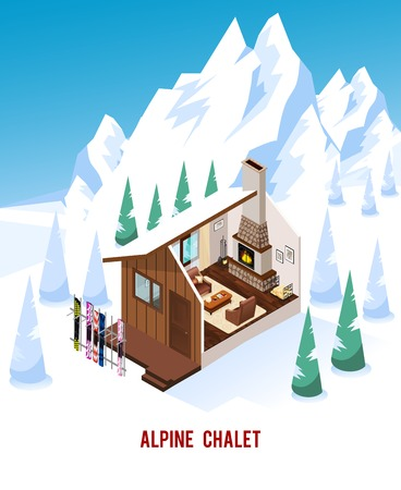 Alpine chalet with stand for skis classic fireplace and comfortable furniture in winter mountains isometric vector illustration