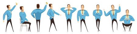 Set of various poses of businessman with emotions on face and accessories cartoon style isolated vector illustration