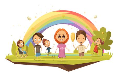 Bambini disabili su sedia a rotelle con stampella e con arti protesiche su sfondo arcobaleno illustrazione vettoriale di stile cartoon