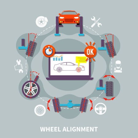 centering: Wheel alignment flat design concept with icons of car in auto service computer tools for balance diagnostics vector illustration