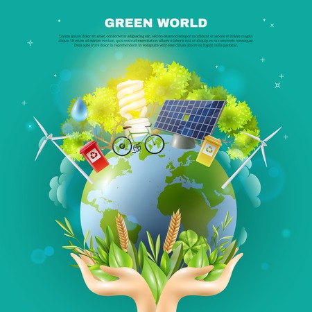 wind mills: Green world awareness concept ecological composition poster with hands holding earth ball with sustainable energy sources vector illustration