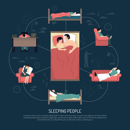 people sleeping: Sleeping people design concept with married couple laying in bed and young men and women resting in chair on couch and at table vector illustration