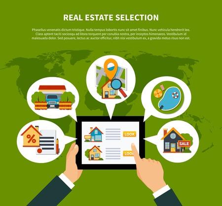 Flat design real estate online selection concept on green background with world map vector illustration Illustration