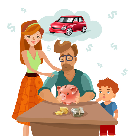 purchase: Home budget planning with family income expenses and target money saving for dream purchase concept flat vector illustration Illustration