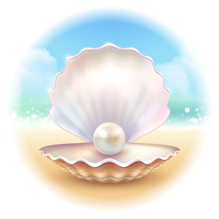 inscribed: Realistic shell pearl on sandy surf beach image with summer sky inscribed in blurry round shape vector illustration
