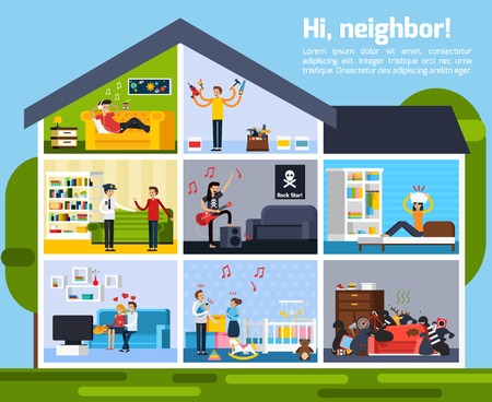 Neighbor conflicts composition with repairs music and children symbols flat vector illustration