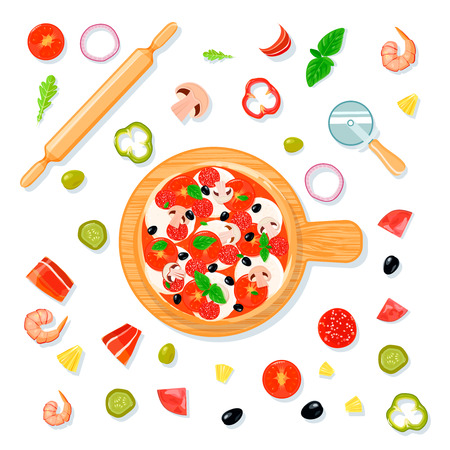 preparing food: Top view pizza set composition in cartoon style with pizza on carving board and filler slices vector illustration