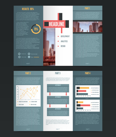 threefold: Threefold flyer template with colorful infographics graphs and editable text headlines description paragraphs and diagram legend vector illustration