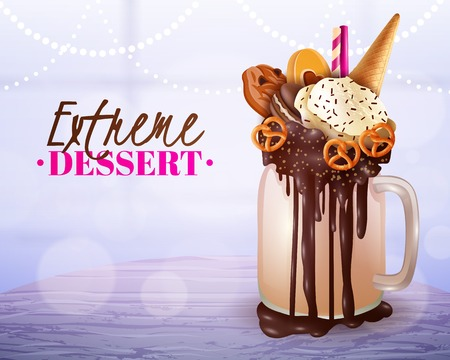 overload: Rich cream chocolade cake and cookies topped overload milkshake jar dessert with blurred light background vector illustration