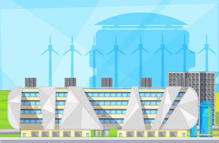 converting: Eco friendly plant facilities with waste to energy converting converting technology using windmills flat poster vector illustration Illustration