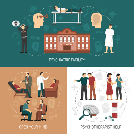 sedative: Psychologist design concept with icons representing medical help in psychiatric facility and people having therapy session with psychologist flat vector illustration Illustration