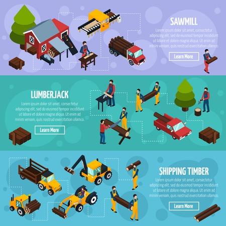 Segheria banner orizzontale isometriche con veicoli per il trasporto del legname boscaioli e gli strumenti per l'abbattimento illustrazione vettoriale