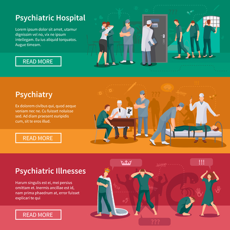 deranged: Psychiatric illnesses horizontal banners set with hospital symbols flat isolated vector illustration