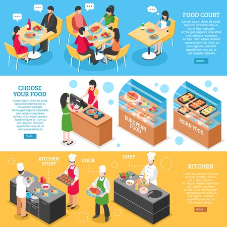 Three food court horizontal banners set with isometric restaurant visitors cooks characters and read more button vector illustration Vektoros illusztráció