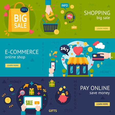 online purchase: E-commerce shopping horizontal banners with online purchase payment and packing in flat style vector illustration Illustration