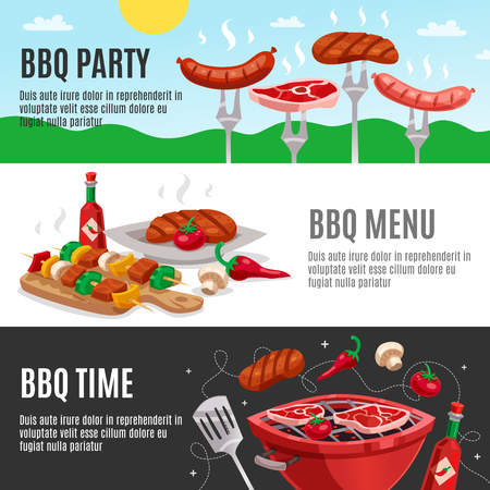 Bbq banners set with summer outdoor background meat skewers carving board and brazier with editable text vector illustration
