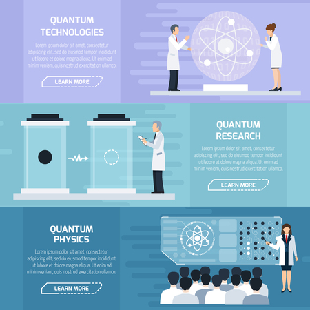 illustrative material: Quantum physics horizontal banners set as illustrative material  for description of technological and learning processes flat vector Illustration