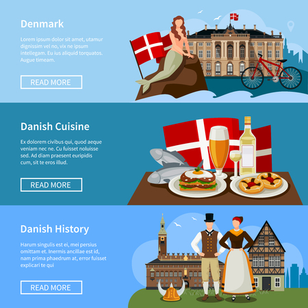 history background: Set of flat style banners with danish landmarks history and cuisine on blue background isolated vector illustration
