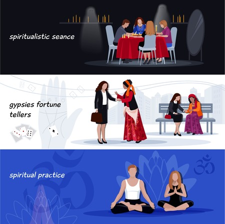 hypnotism: Three horizontal colored hypnotism extrasensory banner set with spiritualistic seance gypsies fortunes tellers spiritual practice descriptions vector illustration
