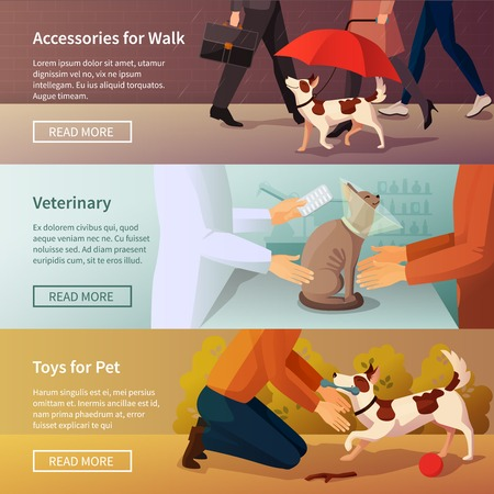 pet store advertising: Pet shop horizontal banners set with veterinary symbols flat isolated vector illustration