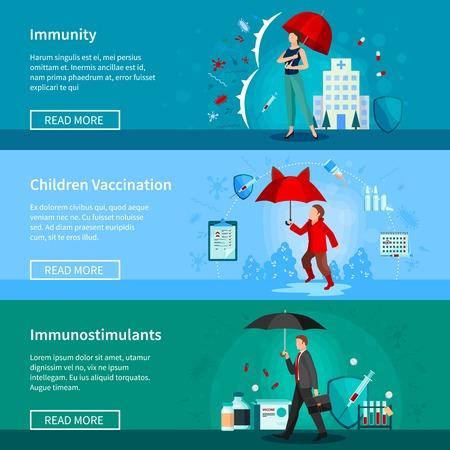 Set van horizontale banners met geïsoleerde mensen onder paraplu's immuniteit en medicijnen kinderen vaccinatie vector illustratie Stock Illustratie