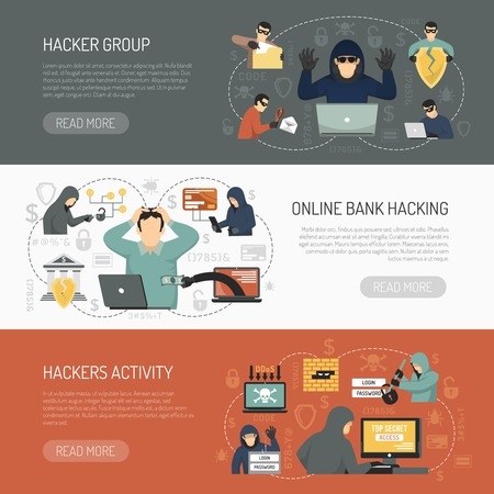 Three colored flat hacker horizontal banner set with hacker group online bank hacking hackers activity descriptions vector illustration