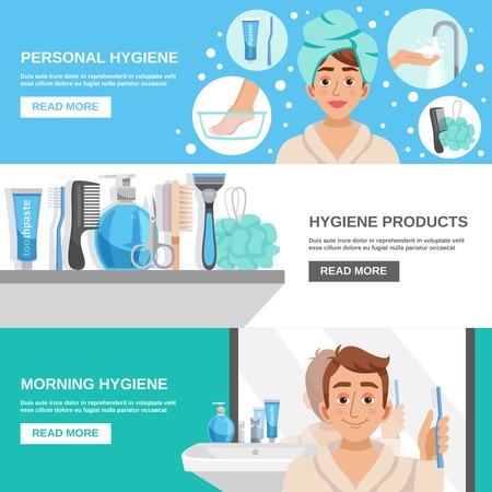 personal care: Personal hygiene products horizontal banners set with toiletry icons human character in bathrobe with text read more button vector illustration Illustration