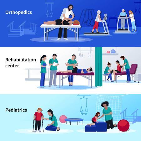 centro medico di riabilitazione 3 banner orizzontali piatti set con illustrazione vettoriale sedute di fisioterapia ortopedica e pediatrica isolato