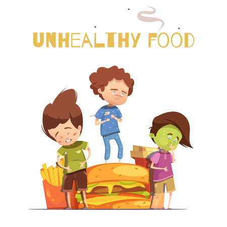 Unhealthy junk food harmful effects warning retro cartoon poster with hamburger and sick looking children vector illustration